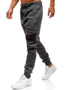 Spodnie męskie dresowe czarne Denley TC880