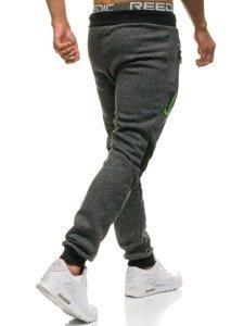 Spodnie męskie dresowe czarne Denley W1209