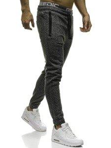 Spodnie męskie dresowe czarno-szare Denley 2033-8