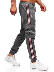 Spodnie męskie dresowe grafitowe Denley JZ11009