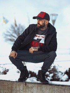 Stylizacja nr 120 - czapka z daszkiem, kurtka przejściowa, bluza z nadrukiem, spodnie dresowe, buty