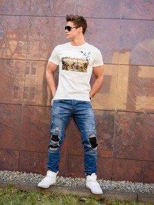 Stylizacja nr 198 - T-shirt z nadrukiem, spodnie jeansowe joggery, buty sneakersy