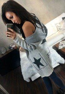 Sweter kardigan damski jasnoszary Denley 05