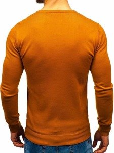 Sweter męski w serek camelowy Denley 2200