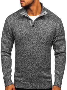 Sweter męski ze stójką grafitowy Denley P086