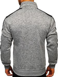 Szara bez kaptura bluza męska rozpinana Denley TC976