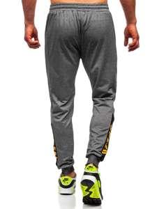 Szare spodnie męskie dresowe joggery Denley HY717