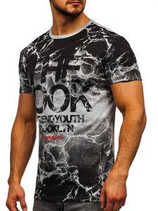 Szary T-shirt męski z nadrukiem Denley JS627