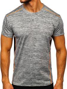 Szary T-shirt treningowy męski bez nadruku Denley KS2102