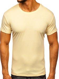 T-shirt męski bez nadruku beżowa Denley 2005
