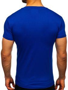 T-shirt męski bez nadruku chabrowy Denley 2005