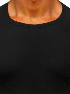 T-shirt męski bez nadruku czarny Denley NB003