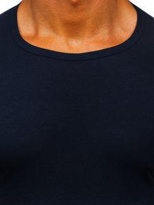 T-shirt męski bez nadruku granatowy Denley NB003