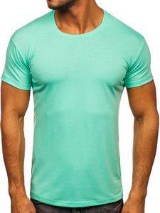 T-shirt męski bez nadruku miętowy Denley 2005