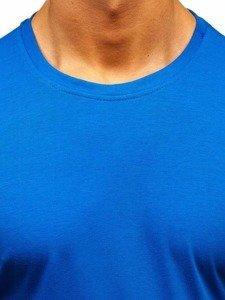 T-shirt męski bez nadruku niebieski Denley 2005