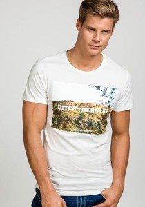 T-shirt męski z nadrukiem biały Denley 7442