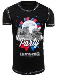 T-shirt męski z nadrukiem czarny Denley s028