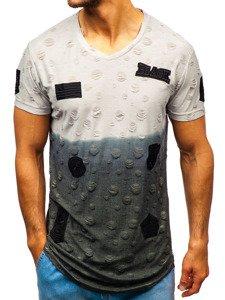 T-shirt męski z nadrukiem szary Denley 318