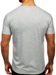 T-shirt męski z nadrukiem szary Denley KS1986